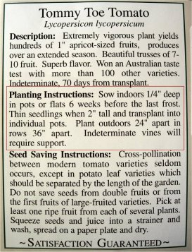 Vegetable Planting Schedule from Seed Packet